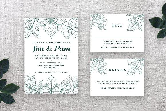 Vintage Wedding Invitation Suite Invitations