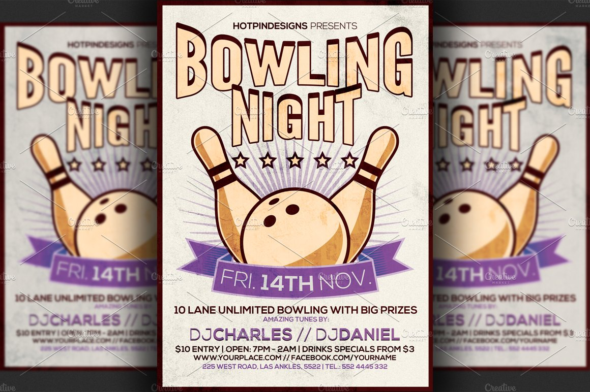 Bowling event flyer template militaryalicious bowling event flyer template saigontimesfo