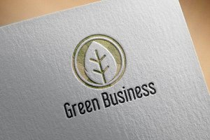 Circle Green leaf Ecology Business