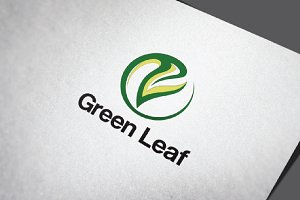 Circle Nature Green leaf Logo