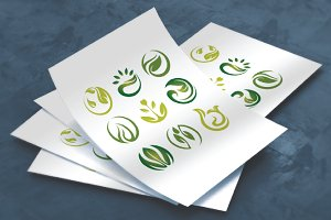 9 Green Plant Leaf Icon Symbol Set