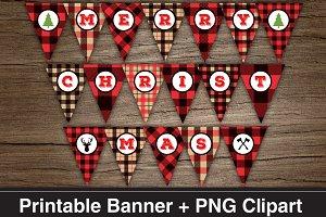 Lumberjack MERRY CHRISTMAS Banner