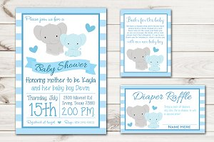 Boy Baby Shower Invite Elephant