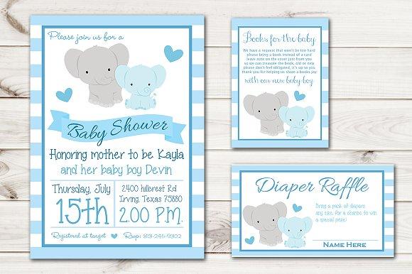 Boy Baby Shower Invite Elephant Invitation Templates Creative Market