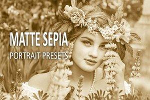 10 Matte Sepia Portrait Presets