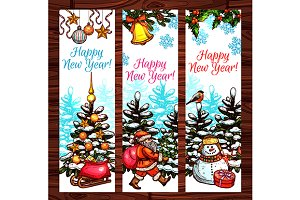 New Year winter holidays banners