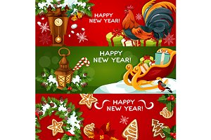 New Year greeting banners