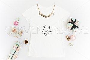 Christmas White T-Shirt Mockup
