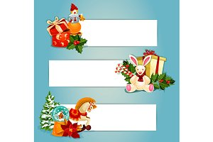 Gifts and toys banners set