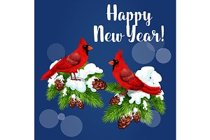 Cardinal birds holiday greeting card