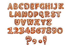 Gingerbread letters and digits