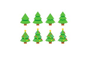 Flat style christmas spruce trees
