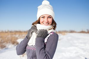 Young woman portrait. Wintertime