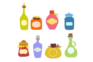 Jars of food vector set