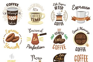 Vintage coffee shop labels