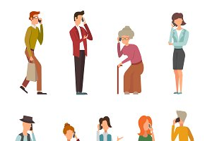 People talking phone vector