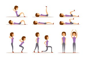 Fitness workout woman vector