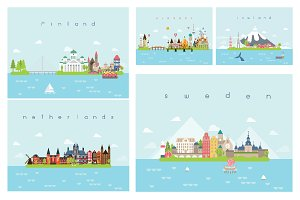 Landmarks Travel and Journey Vector.
