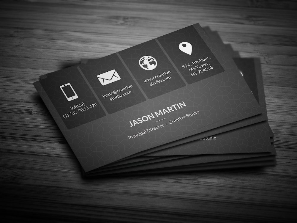 Metro Dark Corporate Business Card