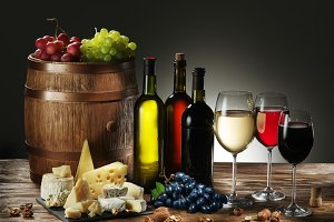 wine, cheeses and fruits.