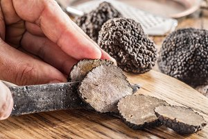 Black truffles on the old wood