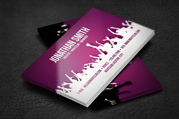 Nightclub business card business card templates creative market reheart Image collections