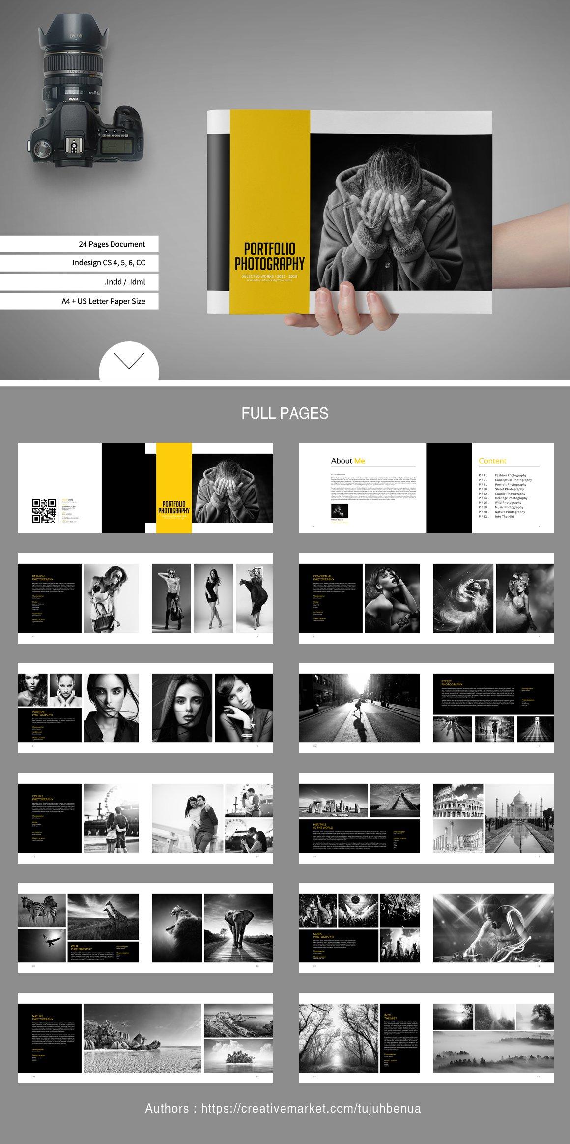 simple portfolio photography brochure templates creative market. Black Bedroom Furniture Sets. Home Design Ideas