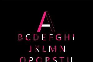 Neon pink font vector