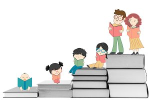 Boys and girls reading illustration