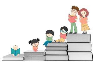Boys and girls reading illustration