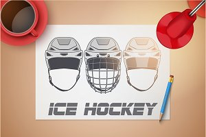 Sketches of Ice Hockey Helmets