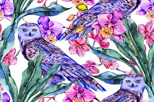 Tropical flowers,owls pattern