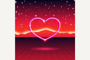 New Retro Wave card with neon heart