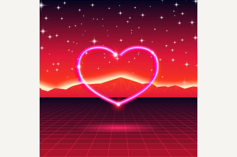 new retro wave card with neon heart illustrations creative market