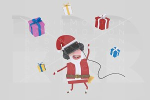 3d illustration. Santa Claus VR