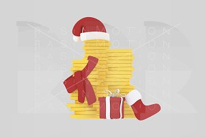 3d illustration. Christmas Money.