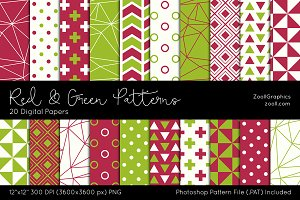 Red & Green Digital Papers