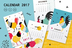 Calendar template for 2017 rooster