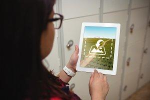 Student using digital tablet