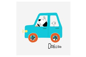 Dog & Bird driving a car