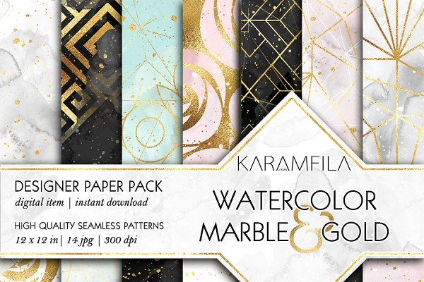 Watercolor Marble & Gold Patterns