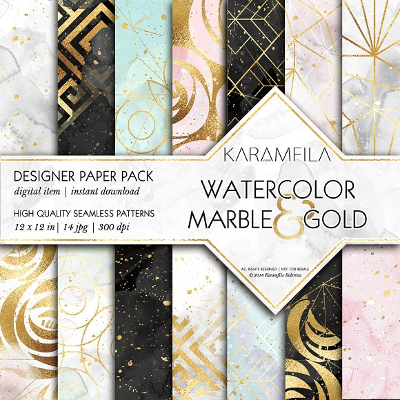 Watercolor Marble Gold Patterns