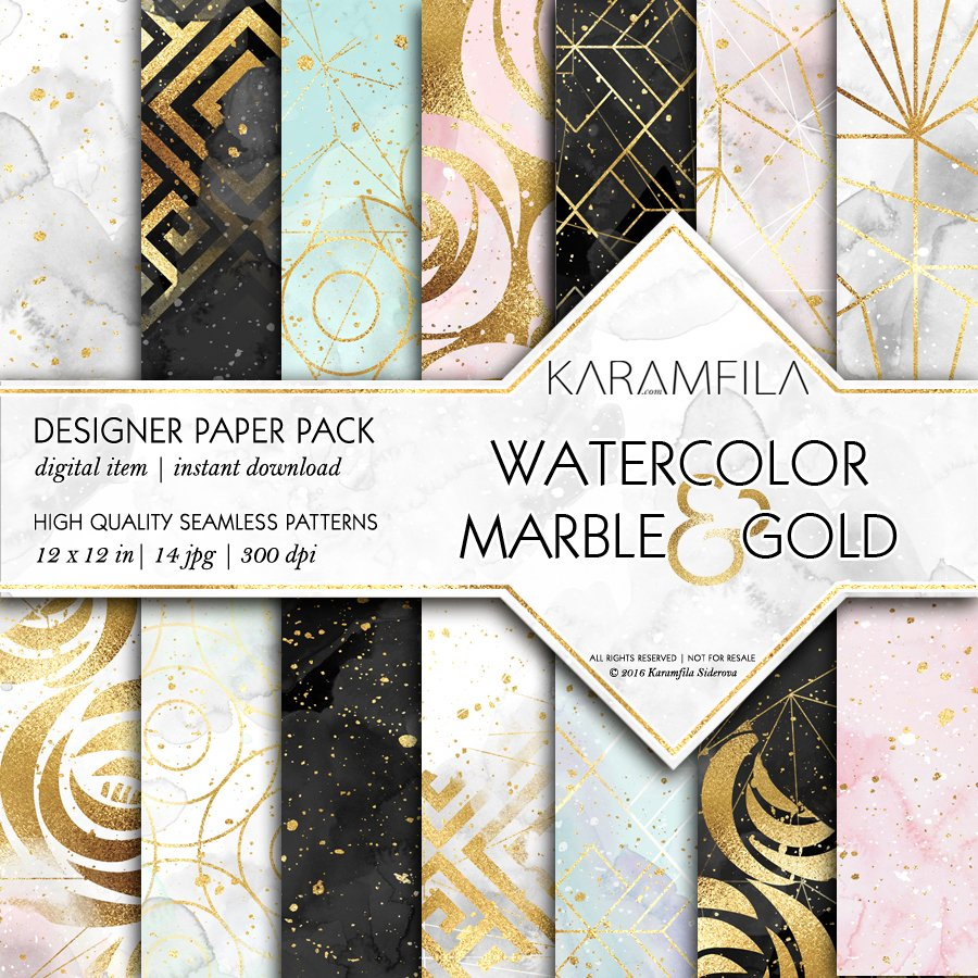 Watercolor Marble Amp Gold Patterns Graphic Patterns
