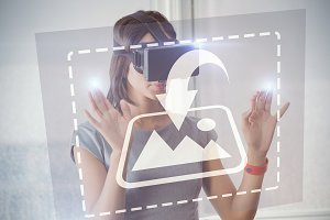 Businesswoman using virtual reality