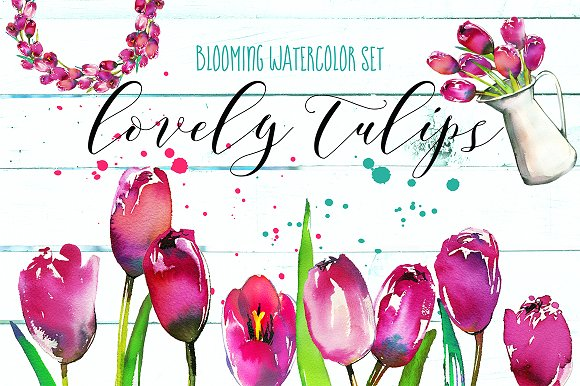 Pink Tulips Watercolor Floral Set