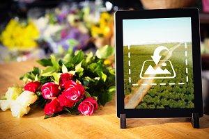 Digital table in florist shop