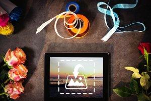 Digital tablet on table