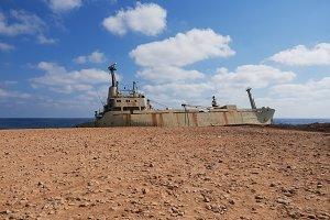 Shipwreck: The cargo ship aground. Cyprus.