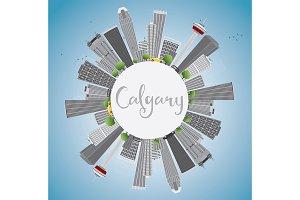 Calgary Skyline with Gray Buildings