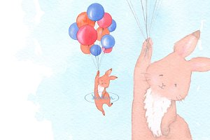 Rabbit and balloons. Watercolor